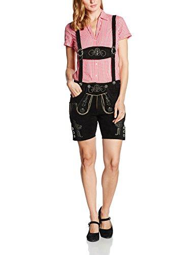 Gaudi-Leathers, Damen Trachten Lederhose Shorts kurz mit Träger in Schwarz (Schwarz 050), W37 (Herstellergröße: 42)