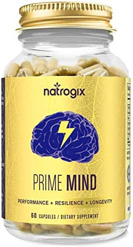 Brain Support Supplement by Natrogix for Focus, Energy, Memory & Clarity Formula - Mental Performance Nootropic with Cordyceps Mushroom,Made in USA