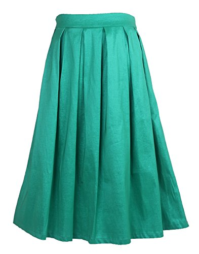 Fuschia Womens Skirt (HDE Women's High Waist A Line Street Skirt Pleated Flared Full Midi Skirt (Sea Green, L))