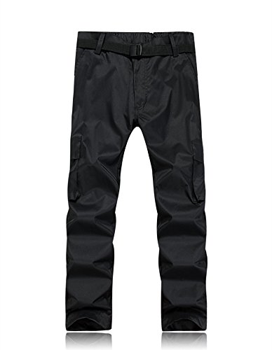 Men Ski Trousers Women Pants Large JACKETS Belt Zipper Black Pocket Button FYM Size DYF aqwpC7E