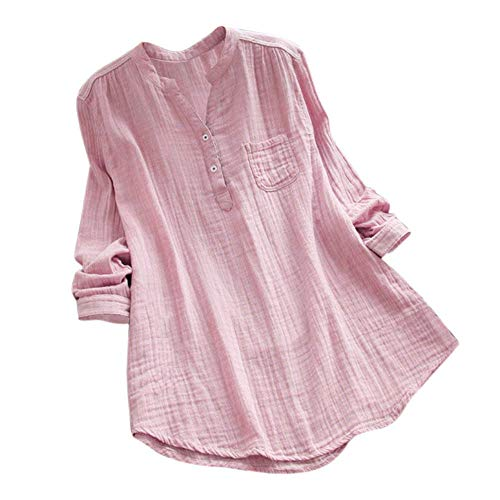 WUAI-Women Plus Size Long Sleeve Stand Collar Cotton Loose Soft Tunic Tops Blouse(Pink,X-Large