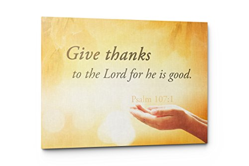 Give Thanks Psalm 107 Canvas Wall Art Quote, Christian Religious Wall Decor (Give Thanks, 17''W x 11''H) by Emin Decor