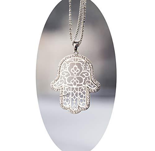 Boltz Hamsa Car Charm Rear View Mirror Accessories,Car Mirror Hanging Ornaments Decoration (Silver Color)