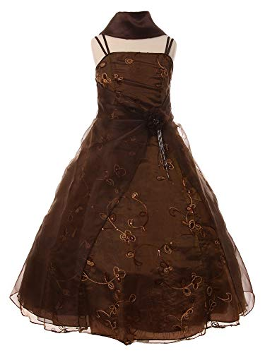 Cinderella Couture Big Girls Brown Flower Sequin Scarf Pageant Dress 12
