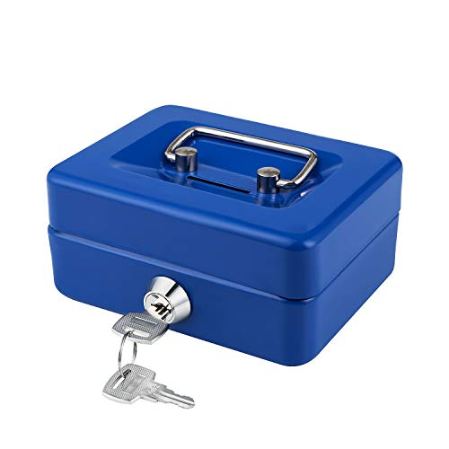 """Cash Box with Key Lock and Slot for Kids Cash Box with Money Tray Small Metal Coin Bank 4.9"""" x 3.7"""" x 2.4"""" Blue"""