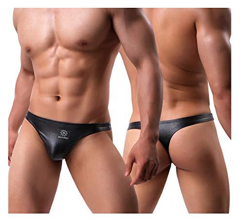 Arjen Kroos Men's Leather Thong Underwear Sexy Low Rise G-String (Black, Medium/28.7-31.9 -