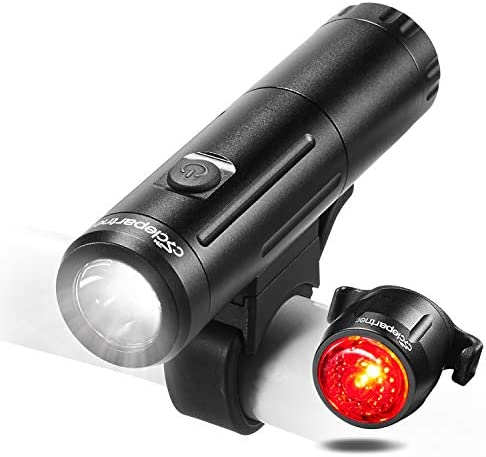 Cyclepartner Elite-700 Lumens Bike Light Set Battery Removable Road and Mountain Bicycle Headlight and Taillight USB Rechargeable IP65 Waterproof Up To 12 Hours