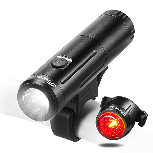 (Cyclepartner Elite-700 Lumens Battery Removable Bike Light Set with Headlight and Tail Light USB Rechargeable IP65 Waterproof)