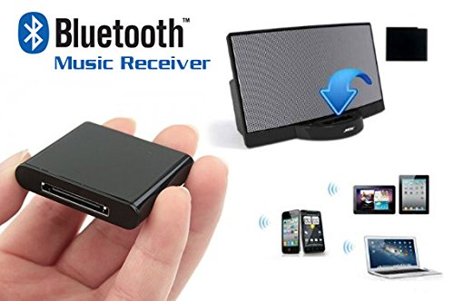 Wireless Bluetooth A2DP Music Receiver for 30-Pin iPod iPad iPhone Dock Speakers– Audio Extension Music Adapter for…