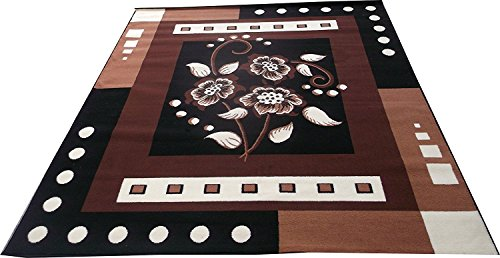 Global Home Brand New Modern Long Lasting, Washable Rugs And Carpets For Home, Bedroom 4 X 5 Feet, Brown Black