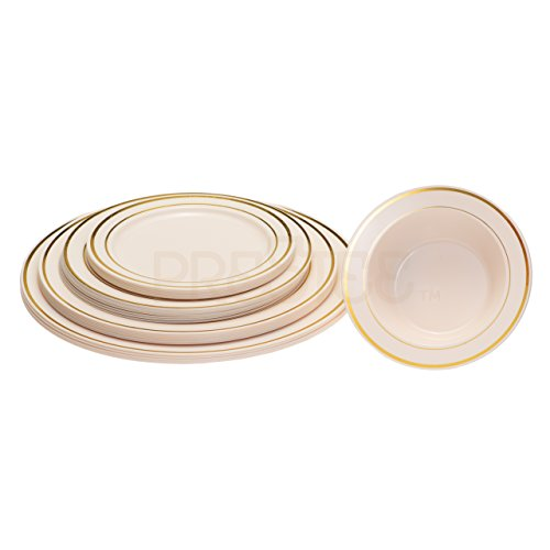 Ivory Fruit Bowl (DELUXE PLASTIC PARTY DISPOSABLE BOWLS | 6 Ounce Hard Wedding Plastic Bowls | Ivory/Gold Rim, 40 Pack | Elegant Fancy Heavy Duty Party Supplies Dessert Plates for all Holidays & Occasions)