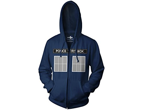 Ripple Junction Doctor Who Call Box Window Adult Zip Hoodie Large Navy