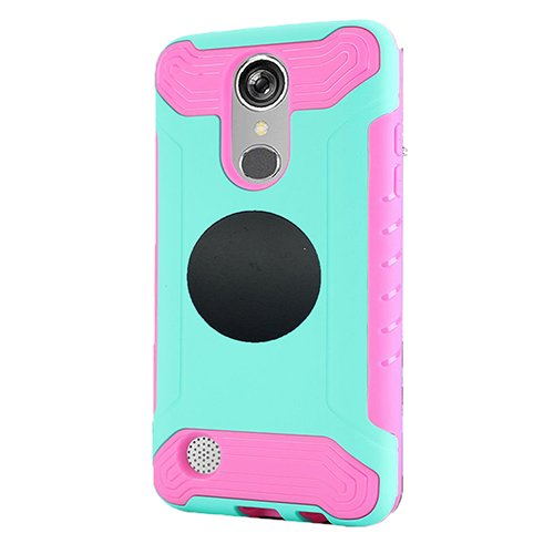 LG Rebel 3 Protective Case, Phone Case for Tracfone LG Rebel 3 Prepaid Smartphone, Screen Protector + Universal Air Vent Magnetic Car Mount Phone Holder (Teal-pink) -  Wireless