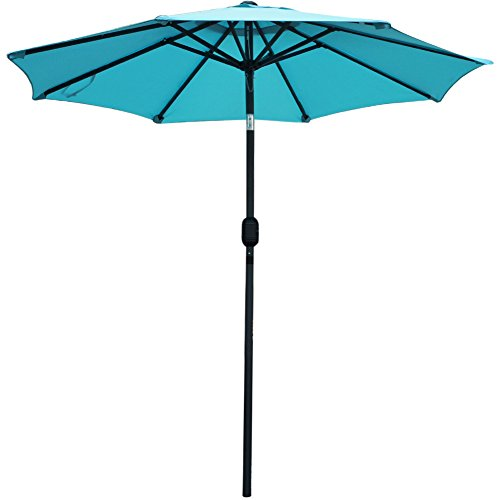 Snail 7.2 ft Aluminum Patio Umbrella Sunshade UV Water Resistant Small Table Deck Umbrella Outdoor Market Umbrella with Push Button Tilt/Crank, 8 Ribs, Light Blue (Tilting Umbrellas Patio Sale)