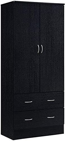 Pemberly Row 32 Wide 2 Door Wardrobe Armoire Closet with 2 Drawers in Black