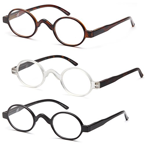 GAMMA RAY READERS 3 Pairs of The Musician Round Unisex Spring Hinge Readers Fit for Men and Women Reading Glasses - With 1.00 - Glasses Reader Round