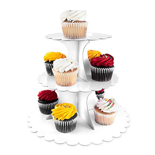 3 Tier Cupcake Cardboard Stand with Blank Canvas Design for Pastry Servings Platter, Birthdays, Dessert Tower Decorations (1 Stand) -