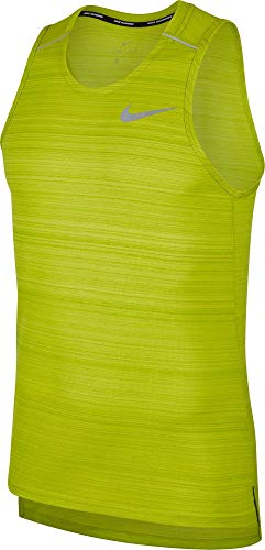 Nike Men's Dri Fit Miler Running Tank Bright Cactus/Heather/Reflective Silver Size Large
