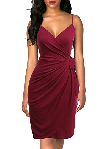 (Berydress Women's Classic V-Neck Spaghetti Strap Sheath Belted Knee-Length Faux Black Wrap Dress (S, 6089-Burgundy))