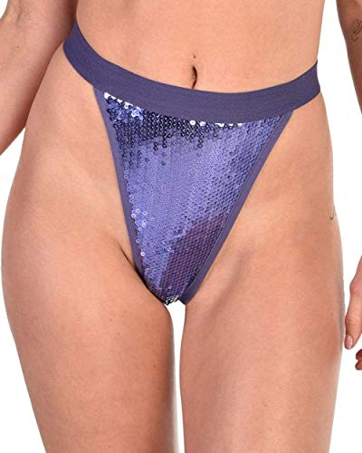iHeartRaves Purple Princess Sequin High Cut Thong Bottoms (Purple, - Waisted High Sequin