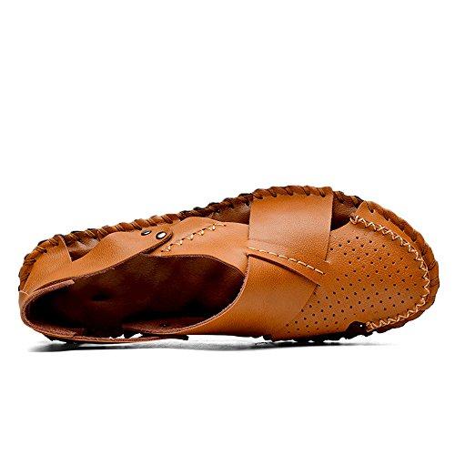 estive sandali uomo Sandali da in Color brown da EU pelle 2 assorbenti sudore Size 40 Sandali pelle sandali traspiranti Light regolabili in chiusi Qingqing uomo ciabattine Light Brown traspiranti 3 5vq70tawn