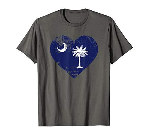 (Love South Carolina Shirt Heart Moon And Palmetto Tree Tee)
