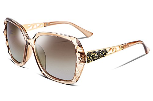 FEISEDY Classic Polarized Women Sunglasses Sparkling Composite Frame ()