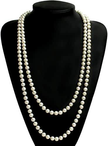 Babeyond ART DECO Fashion Faux Pearls Flapper Beads Cluster Long Pearl Necklace 55