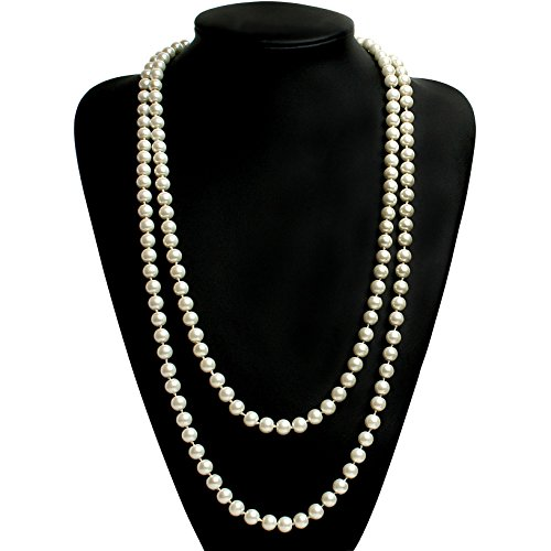 BABEYOND ART DECO Fashion Faux Pearls Flapper Beads Cluster Long Pearl Necklace (High Fashion Necklace Gift Box)