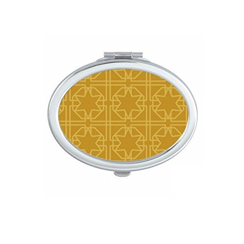 Kingdom of Thailand Thai Traditional Customs Golden Weaving Decorative Pattern Satin Shrine Art Illustration Oval Compact Makeup Pocket Mirror Portable Cute Small Hand Mirrors by DIYthinker