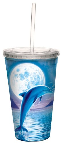 Dolphin Moon Collectible Art Double Wall Cool Travel Cup with Straw, 16-Ounce - Cute Gift for Animal Lovers - Tree-Free Greetings 80086