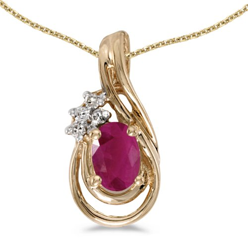 10k Yellow Gold Diamond Ruby - 10k Yellow Gold Oval Ruby And Diamond Teardrop Pendant with 18