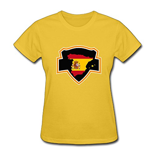 Spains Flag Classic T-shirt For Women - L O-Neck Yellow