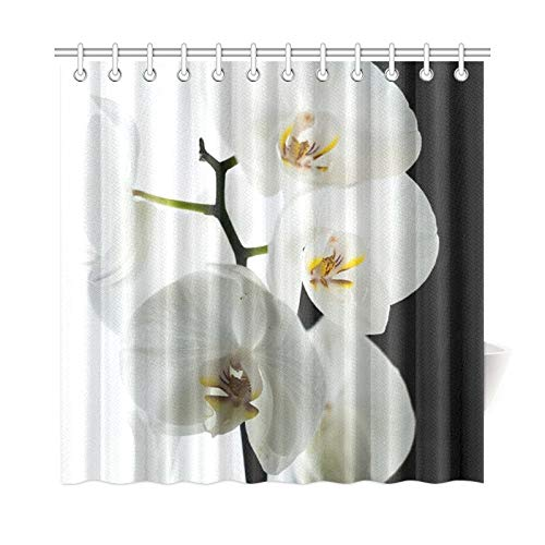 - WIEDLKL Home Decor Bath Curtain Orchid Black White Polyester Fabric Waterproof Shower Curtain for Bathroom, 72 X 72 Inch Shower Curtains Hooks Included