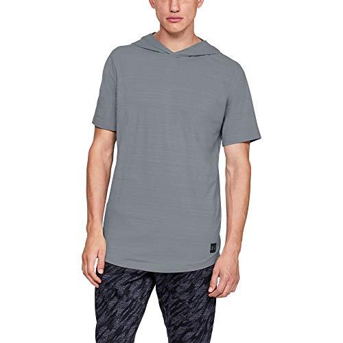 Under Armour Men's sportstyle Short sleeve Hoody, Steel (035)/Black, X-Large