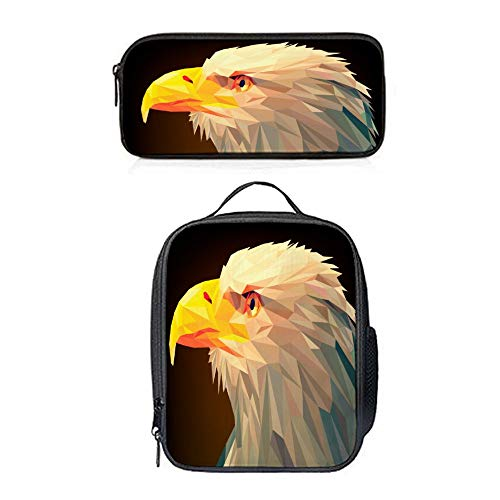 SARA NELL Unique Stylish Lunch Backpack Creative Geometric Bald Eagle Portrait Insulated Lunch Bag Lunch Tote Cross-body Bag Pen Case Gift 2pcs(Lunch Bag+Pen - Portrait Bald Eagle