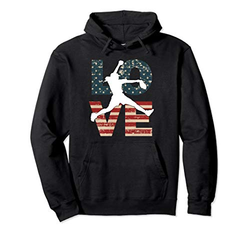 LOVE American Softball Teen Girls Women Pullover Hoodie