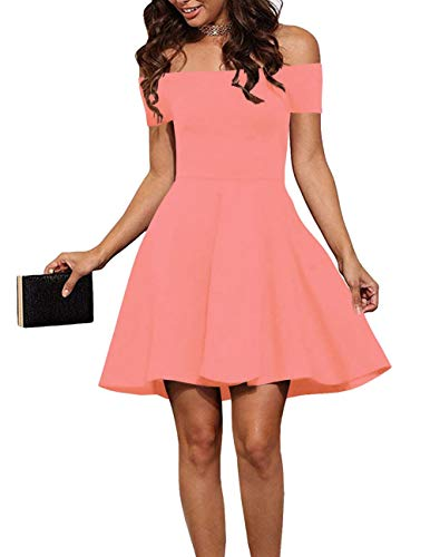 - EZBELLE Womens Casual Summer Off Shoulder Dress Short Sleeve Homecoming Cocktail Skater Dresses Blush X-Large