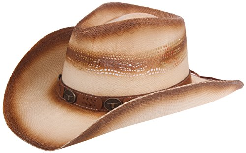 Enimay Men's Womens's Western Outback Straw Canvas Cowboy Hat Western Bull One Size