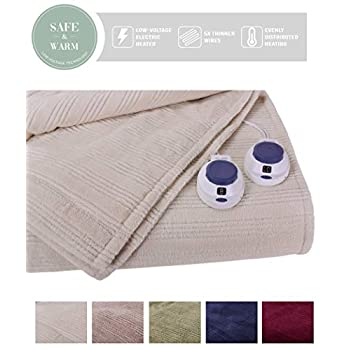 Image of SoftHeat by Perfect Fit   Ultra Soft Plush Electric Heated Warming Blanket with Safe & Warm Low-Voltage Technology (King, Natural) Home and Kitchen