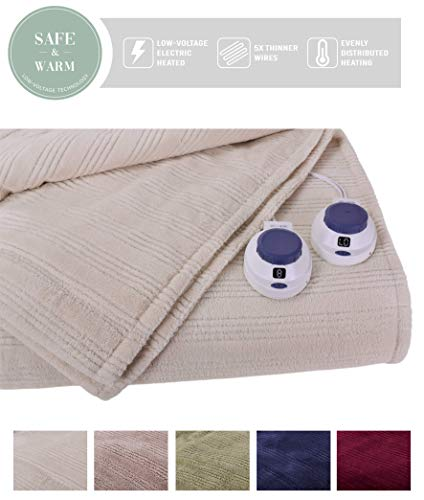 SoftHeat by Perfect Fit | Ultra Soft Plush Electric Heated Warming Blanket with Safe & Warm Low-Voltage Technology (King, Natural)