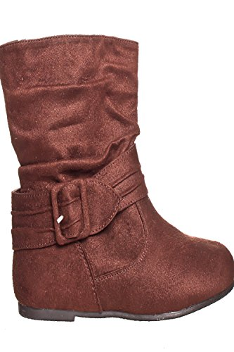 DND Fashion Faux Suede Zipper Design Buckle Casual Boot Brown-t1639 SRM6X