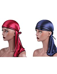 Farway Silk Durag Headwraps Unisex with Long Tail and Wide Straps(2pcs)