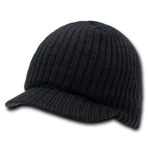 Decky Knit Visor Beanie Campus Jeep Cap (One Size, Black)