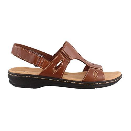 CLARKS Women's Leisa Lakelyn Flat Sandal, Tan Leather, 10 M US