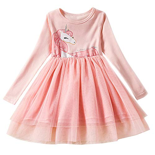 Little Girl Unicorn Long Sleeve Cotton Birthday Party Dress Costume Winter Warm Shirt Pink