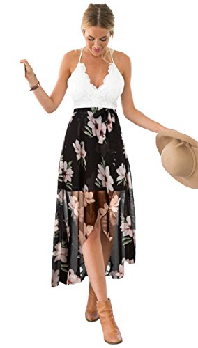 Blooming Jelly Women's Deep V Neck Sleeveless Summer High Low Floral Lace Chiffon Maxi Dress Black
