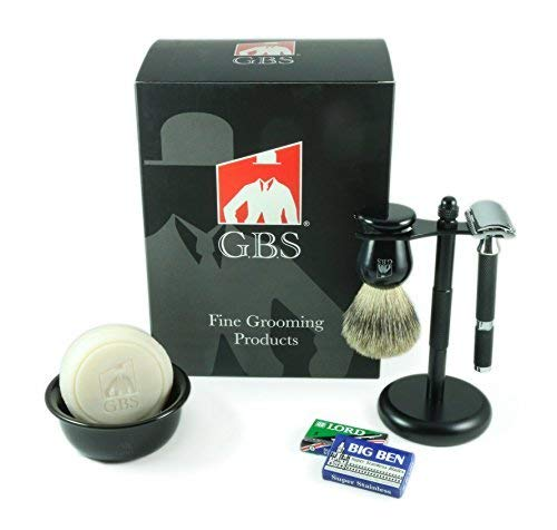 GBS 5 Pcs Shaving Kit - Gift box, Rubber Coated Long Handle Razor, Pure Badger Brush, Black Matte Brush and Razor Stand, Ceramic Bowl, GBS 97% All Natural Soap + 15 DE Blades! Best West Shave!