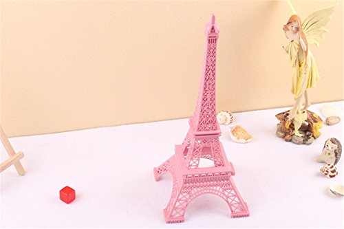 Ecom City French Eiffel Tower Metal Vintage Statue Figurine Replica Centerpiece Room Table Décor Jewelry Stand Holder French Souvenir (Pink) -