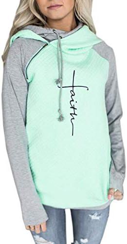 AELSON Women's Faith Print Hoodies Shirt Female Mama Bear informal Sweatshirts Tops Cute